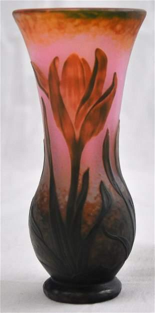 Daum Nancy Pink and Green Martle Vase