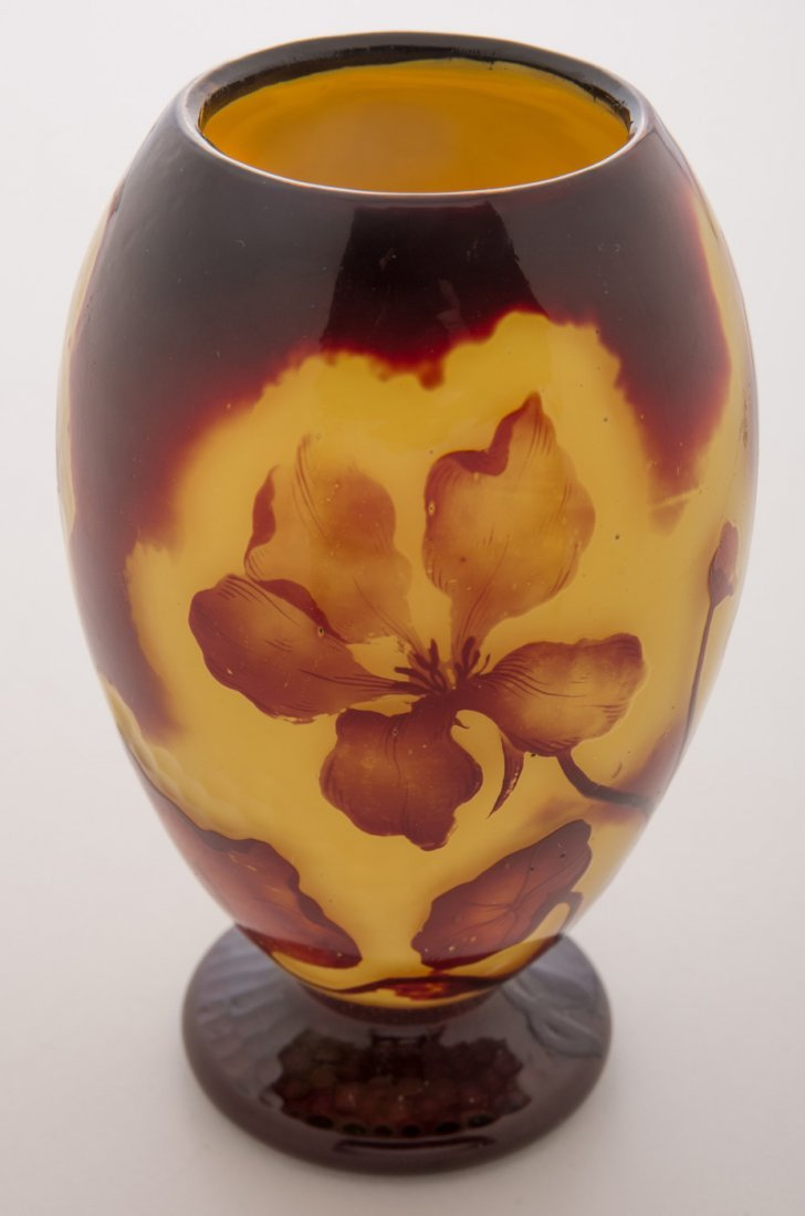 Daum Nancy Cameo and Martele Floral Vase