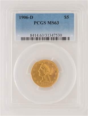 1906-D $5 Liberty Gold Coin