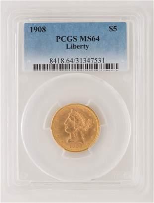 1908 $5 Liberty Gold Coin