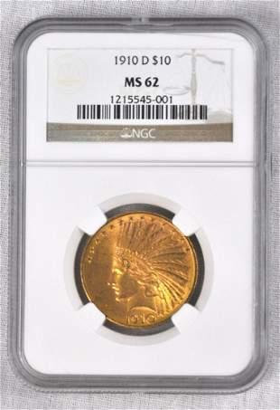 1910-D $10 Indian Gold Coin