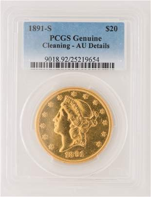 1891-S $20 Liberty Gold Coin