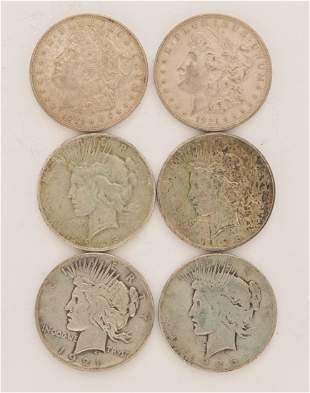 Lot of 6 90% Silver Dollars