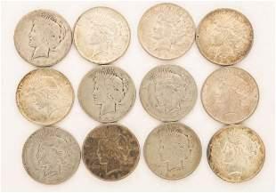 Lot of 12 1923 Peace Dollars