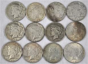 Lot of 12 1924 Peace Dollars