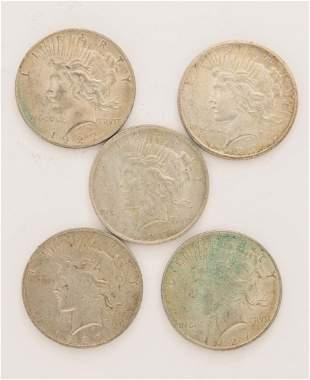 Lot of 5 1927 Peace Dollars