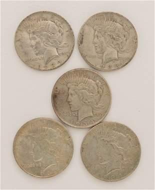 Lot of 5 1934 Peace Dollars
