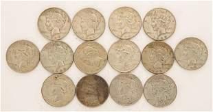 Lot of 14 1935 Peace Dollars