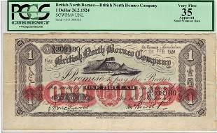 British North Borneo - Unlisted - $1 26 Feb 1924