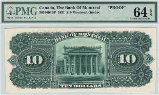The Bank of Montreal, Canada 1891 $10 Back Proof