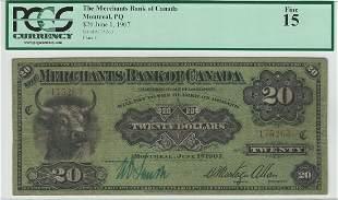 The Merchants Bank of Canada June 1st 1907 $20