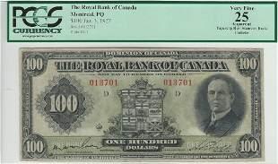 The Royal Bank of Canada Jan 3rd 1927 $100 -