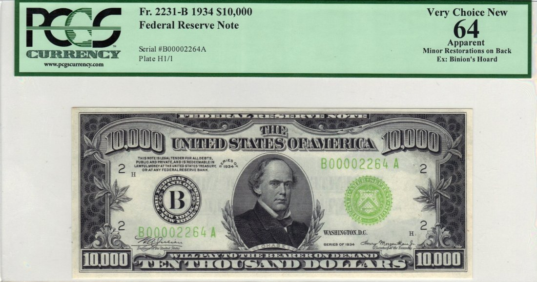 Fr. 2231-B - 1934 $10,000 Federal Reserve Note New York