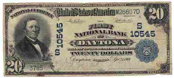Daytona, FL - Ch. 10545 - 1902 $20 Plain Back