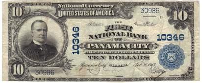 Panama City, FL - Ch. 10346 - 1902 $10 Plain Back