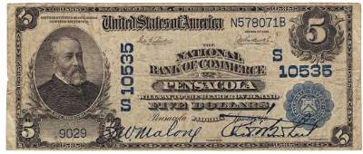 Pensacola, FL - Ch. 10535 - 1902 $5 Plain Back