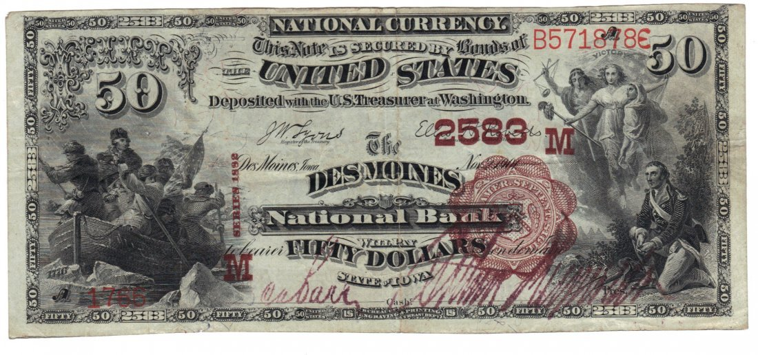 Des Moines, IA - Ch. 2583 - 1882 $50 Brown Back