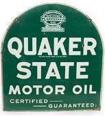 Quaker State Motor Oil Porcelain Tombstone Sign