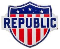 Republic Gasoline Shield Porcelain Sign