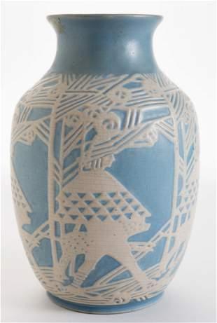 Fine Overbeck Carved Pottery Vase