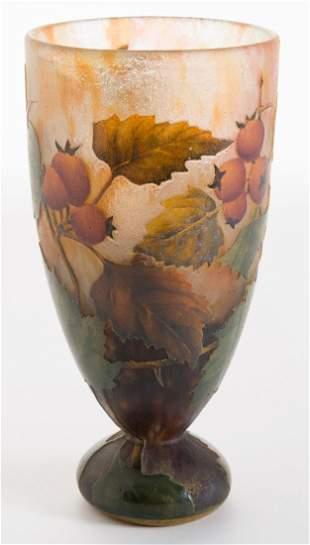 Daum Nancy Berries and Leaves Vase