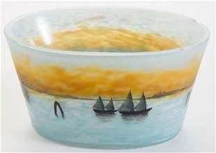 Daum Nancy Bowl with Scenic Venetian Design
