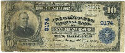 San Francisco, CA - Ch. 9174 - 1902 $10 Blue Seal PB