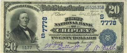 Chipley, FL - Ch. 7778 - 1902 $20 Blue Seal Plain Back
