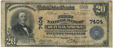 DeFuniak Springs, FL - Ch. 7404 - 1902 $20 Blue Seal PB