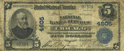 Chicago, IL - Ch. 4605 - 1902 $5 Blue Seal Plain Back