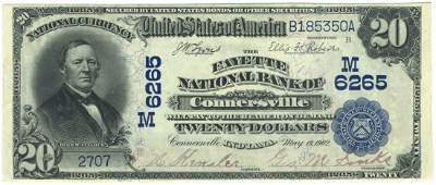 Connersville, IN - Ch. 6265 - 1902 $20 Blue Seal PB