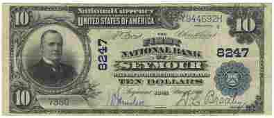 Seymour, IA - Ch. 8247 - 1902 $10 Blue Seal Plain Back