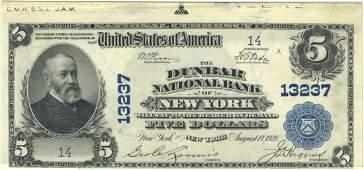 New York, NY - Ch. 13237 - 1902 $5 Blue Seal Plain Back