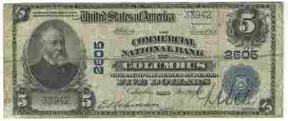 Columbus, OH - Ch. 2605 - 1902 $5 Blue Seal Plain Back
