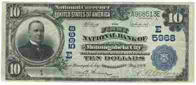 Monongahela City, PA - Ch. 5968 - 1902 $10 Blue Seal PB