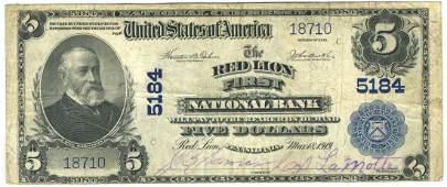 Red Lion, PA - Ch. 5184 - 1902 $5 Blue Seal Plain Back