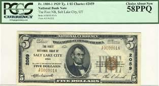 Salt Lake City, UT - Ch. 2059 - 1929 $5 Type1