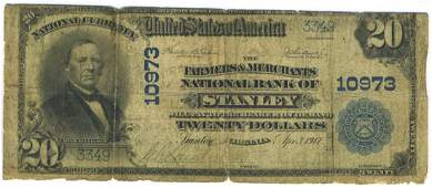 Stanley, VA - Ch. 10973 - 1902 $20 Blue Seal Plain Back
