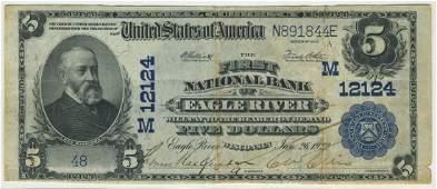 Eagle River, WI - Ch. 12124 - 1902 $5 Blue Seal PB