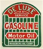 Roseberg Oil Corp De Luxe Service Porcelain Sign