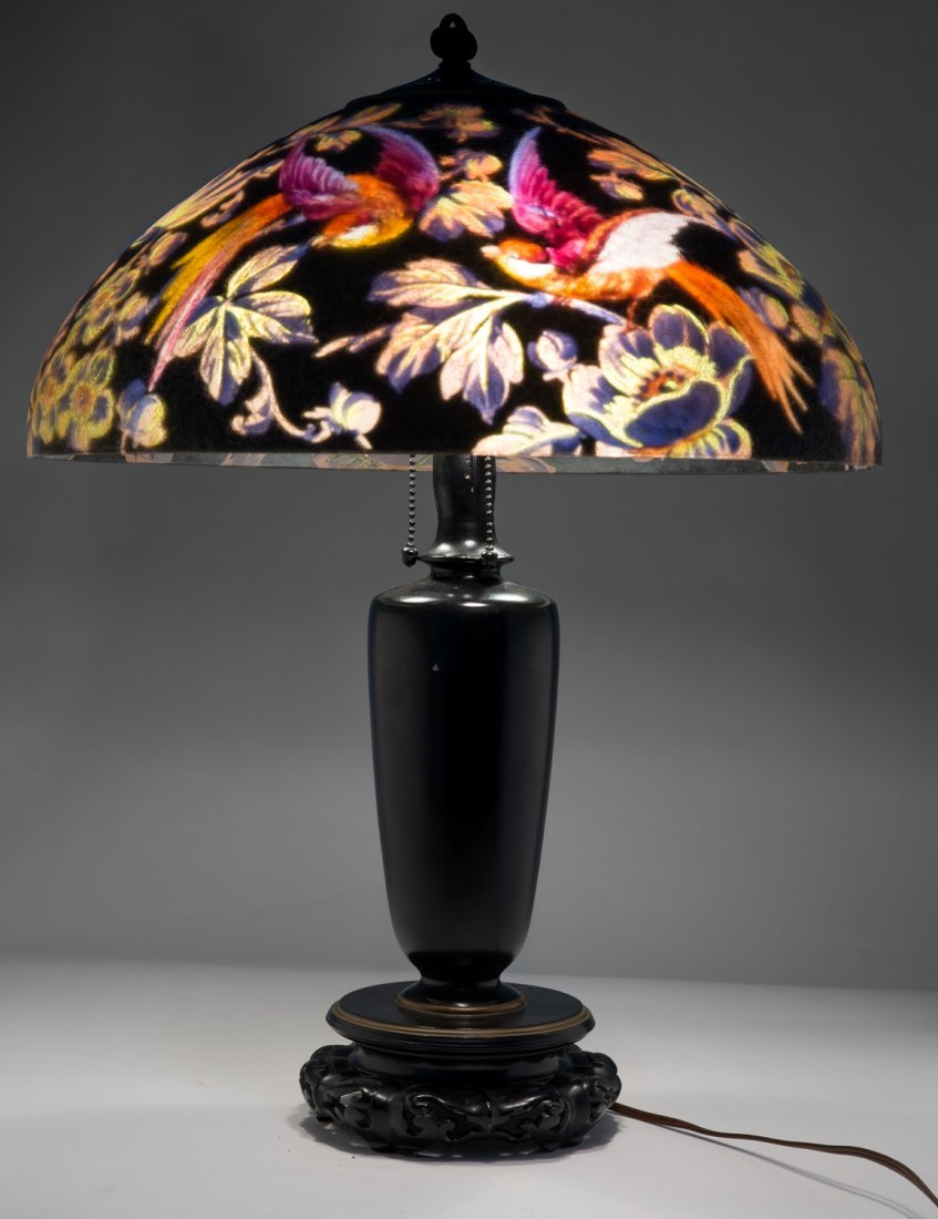 Handel Black Jungle Birds Lamp #7026