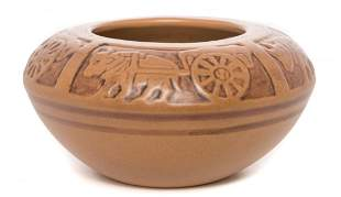 UND School of Mines Ox and Cart Pottery Bowl