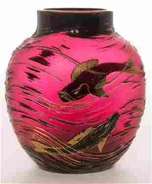 1910s Harrach Signed Fish Vase