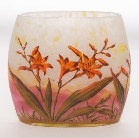 Daum Nancy Orange Lily Pillow Vase