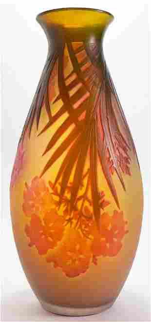 Large Emile Galle Cameo Vase