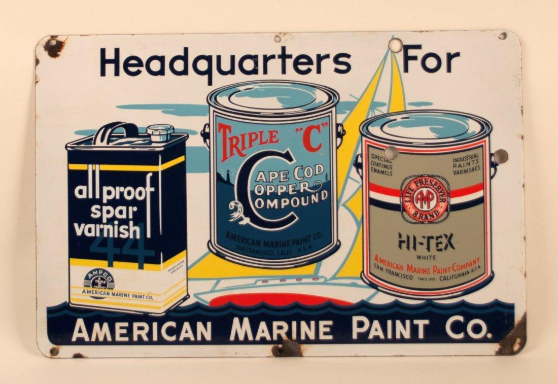 American Marine Paints Porcelain Sign