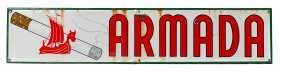 Armada Cigarettes Porcelain Sign W/ Viking Ship