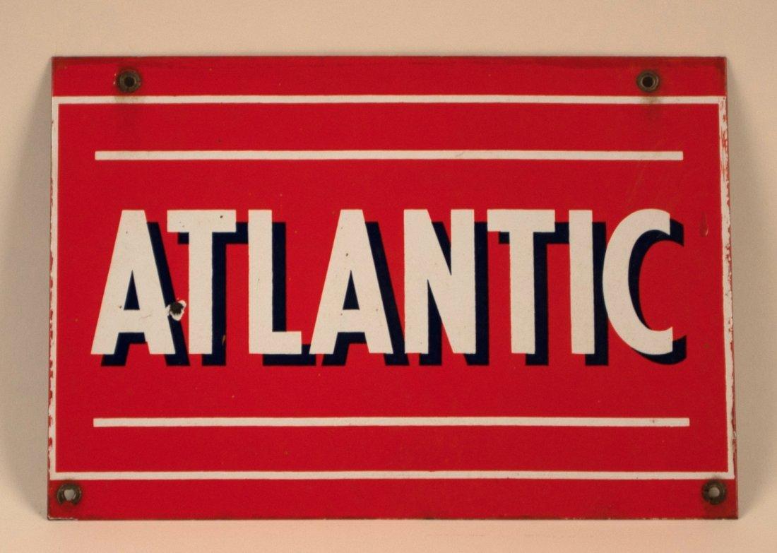 Atlantic Gasoline Porcelain Pump Plate Sign