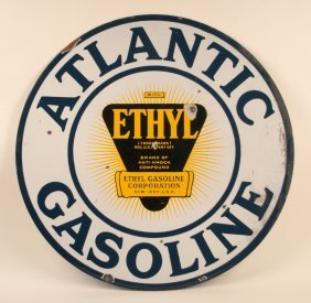 Atlantic Gasoline With Ethyl Porcelain Sign