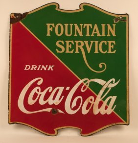 Coca-cola Soda Fountain Service Porcelain Sign